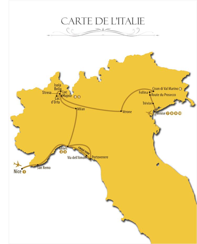 Carte de l'Italie pour circuit Meravigliosa de Nice à Venise