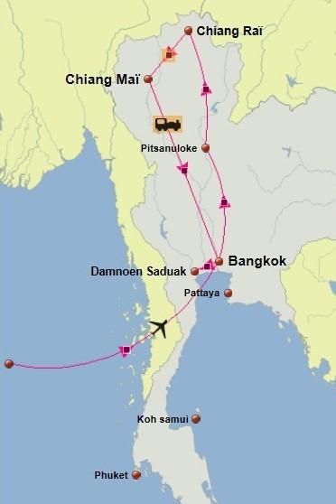 Carte du circuit en Thailande