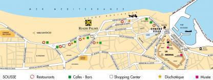 Localisation sur la carte de l'Hôtel Riadh Palms à Sousse en Tunisie