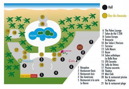 Plan de l'Hôtel Riadh Palms en Tunisie à Sousse